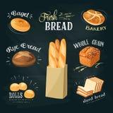 黑板被设置的面包店广告:百吉卷,面包,黑麦面包, ciabatta,麦子面包,整个五谷面包,切的面包,法国长方形宝石, crois 免版税库存照片