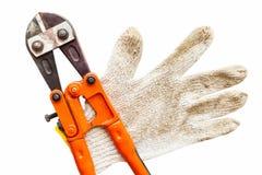 板钳和手套在被隔绝的白色 库存图片
