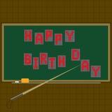 黑板 文本-新年快乐 方格的背景 在红色上写字 也corel凹道例证向量 免版税库存图片