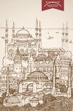 板刻葡萄酒手拉的传染媒介土耳其Istanbu 免版税库存照片