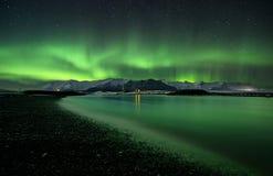极光北极星闪光  免版税库存图片