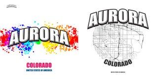 极光,科罗拉多,两件商标艺术品 免版税库存照片