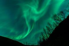 极光Borealis北部挪威Tromsdalstinden 库存照片