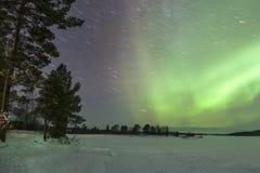 极光Borealis在Inari,拉普兰 免版税库存图片