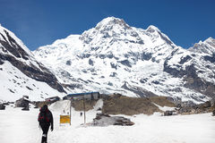 极其体育运动 喜马拉雅山的春天山的孤立远足者 库存图片