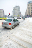 极其降雪-交通问题 库存图片
