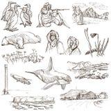 极区:旅行环球 背景图画徒手画查出白色 免版税库存图片