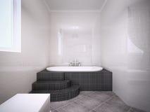 极可意浴缸看法在有光滑的墙壁的卫生间里 免版税库存图片