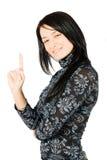 极大愉快有想法微笑的妇女年轻人 免版税图库摄影