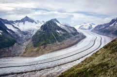 极大aletsch的冰川 免版税库存图片