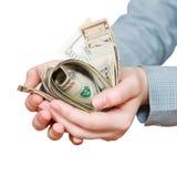 极少数许多美元钞票 免版税图库摄影