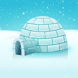 极性冬天横向的动画片园屋顶的小屋 免版税库存照片