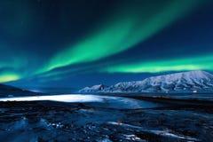 极性北极光在挪威 库存照片