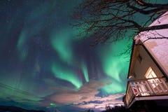 极性北极北极光极光borealis天空星在斯堪的那维亚农厂冬天雪山的挪威特罗姆瑟 免版税库存照片