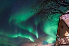 极性北极北极光极光borealis天空星在斯堪的那维亚农厂冬天雪山的挪威特罗姆瑟 库存图片