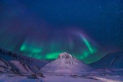 极性北极北极光极光borealis天空星在朗伊尔城市山的挪威斯瓦尔巴特群岛 免版税库存照片