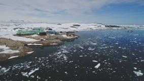 极性南极vernadsky驻地鸟瞰图 股票录像