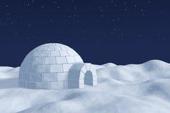 极性雪原的园屋顶的小屋冰室在夜空下与 免版税库存照片
