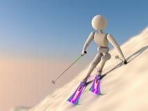 极端下坡滑雪者 免版税库存照片