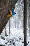 极端体育上升 在岩石墙壁上的年轻男性攀岩运动员 背景的斯诺伊森林 免版税库存照片