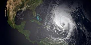 极端接近加勒比岛和佛罗里达的3场飓风的详细和现实高分辨率3d例证 皇族释放例证