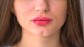 极端接近有botox的妇女` s性感的嘴唇 关闭妇女` s嘴唇和微笑 股票视频