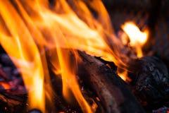 极端特写镜头开火火焰 准备在户外的烤肉火 在抽象图象的被弄脏的火火焰 灼烧的木头 库存图片
