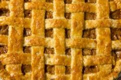 极端特写镜头苹果饼 图库摄影