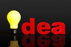 极端特写镜头电灯泡当想法标志 免版税库存图片