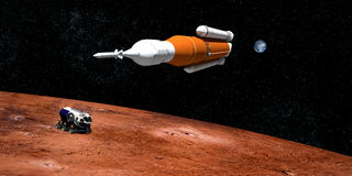 极端空间发射系统SLS火箭队的详细和现实高分辨率3D例证 射击从空间 皇族释放例证