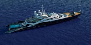 极端豪华超级游艇的详细和现实高分辨率3D例证 库存图片