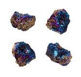 极端锋利的钛彩虹气氛水晶群石头 免版税图库摄影