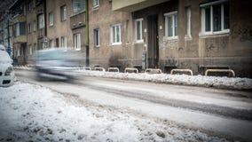 极端降雪在欧洲城市 免版税库存照片