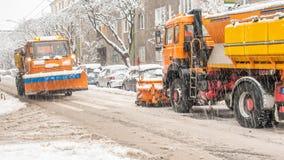 极端降雪在欧洲城市 库存图片