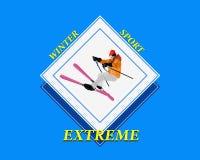 极端滑雪。 库存照片