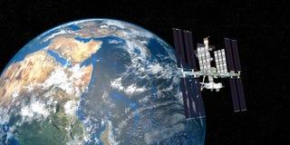 极端ISS国际空间站轨道的地球的详细和现实高分辨率3D图象从外层空间射击了 库存照片
