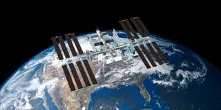 极端ISS国际空间站轨道的地球的详细和现实高分辨率3D图象从外层空间射击了 免版税库存照片