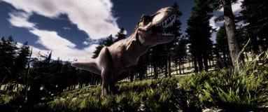 极端T雷克斯Tyranno Saurus恐龙的详细和现实高分辨率3d例证在森林里 库存例证