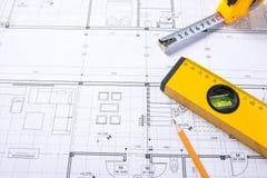 结构上部分项目 设计一个新的家的工具 库存图片