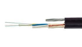 结构图8 12个与吊线的核心光纤缆绳 免版税库存图片