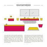 构思设计内部生动描述沙发 您的卫生间模板 皇族释放例证