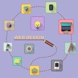 构思设计相关万维网字 套平的象 免版税图库摄影