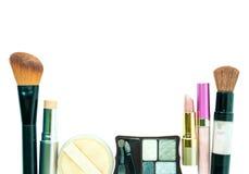 构成刷子和化妆用品在白色背景设置了 免版税图库摄影