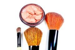 构成刷子和化妆用品 免版税图库摄影