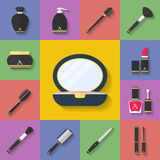构成化妆象集合 平的样式 免版税图库摄影