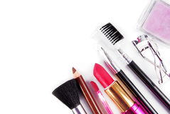 构成和刷子化妆用品集合 库存照片