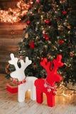 构成新年度 假日装饰,圣诞节驯鹿 免版税库存照片