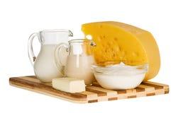构成牛奶店奶制品 库存图片