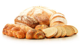 构成用在白色的面包和卷 库存照片
