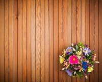 构成由人造花、果子、麦子的蝴蝶和耳朵制成 图库摄影